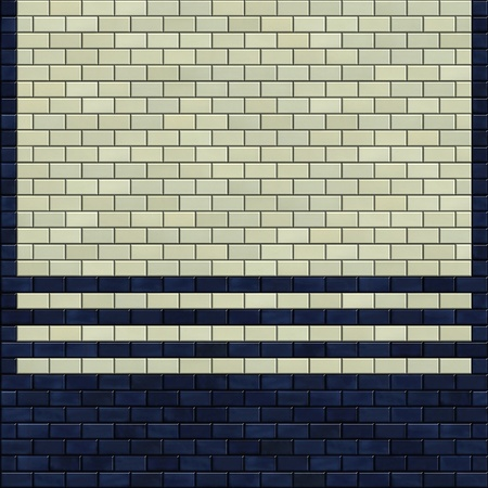 3d render blue ivory white tile pattern on a wall Stock Photo - 12939813