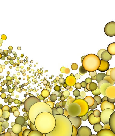3d render abstract multiple yellow bubble backdrop photo