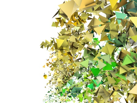fragmentation: 3d render abstract yellow green fragmented backdrop Stock Photo