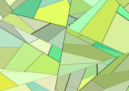 fragmented: 3d render mixed green fragmented wall floor surface