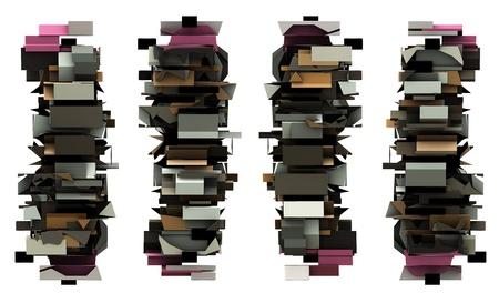 border 3d abstract graffiti modern totem sculpture render photo