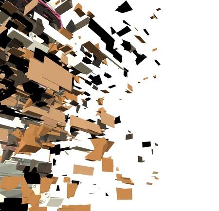 fragmented 3d abstract graffiti modern sculpture render