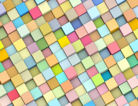 abstract 3d render backdrop cubes in multiple soft rainbow color photo