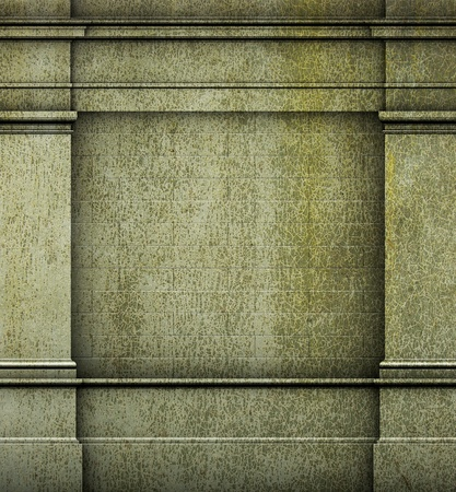 architrave: 3d antique classic architecture Greek Roman wall green grunge render
