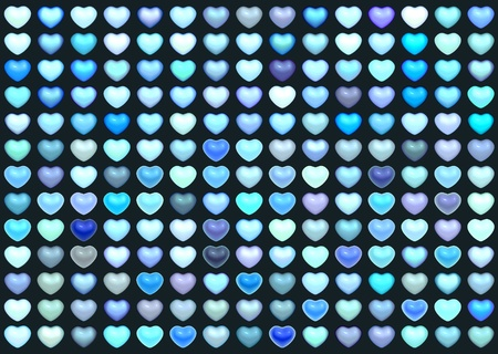 3d collection floating love heart in multiple blue on deep blue photo