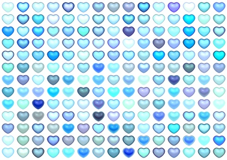 3d collection floating love heart in multiple blue on white photo