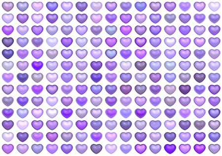3d collection floating love heart in multiple purple  photo