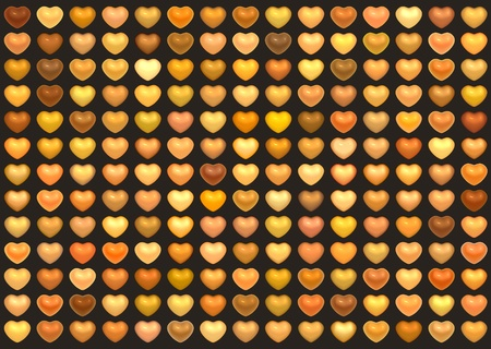 3d collection floating love heart in multiple orange on brown photo