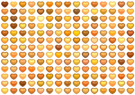 3d collection floating love heart in multiple orange on white photo