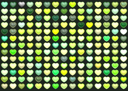 3d collection floating love heart in multiple green on deep green photo