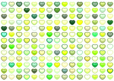 3d collection floating love heart in multiple green on white Stock Photo - 13403798