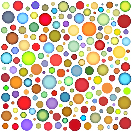 abstract sphere bubble pattern in multiple color on white photo