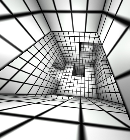 3d render white tiled labyrinth photo