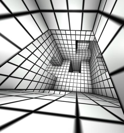 3d render white tiled labyrinth photo