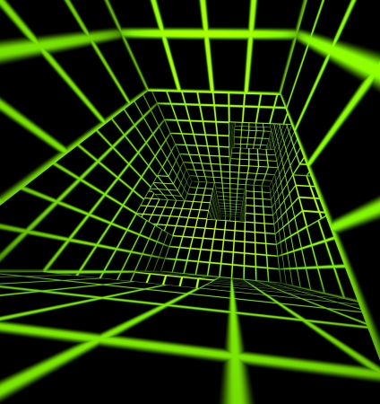 futuristic green on black 3d render tiled labyrinth Stock Photo