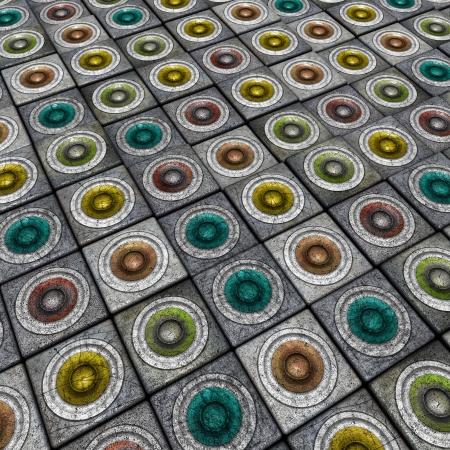 3d grunge render multiple color sound system pattern backdrop photo