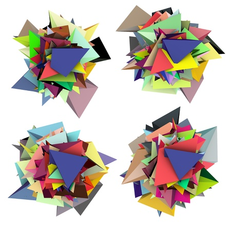 fragmented: 3d abstract fragmented colored spiked shape on white