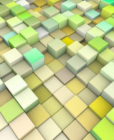 abstract 3d cubes backdrop in yellow green  Stock Photo - 14402752