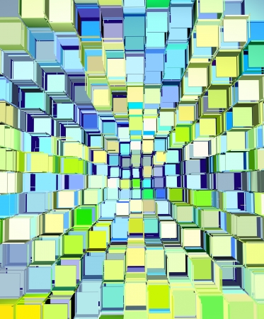 fragmentation: 3d abstract fragmented pattern in blue yellow green