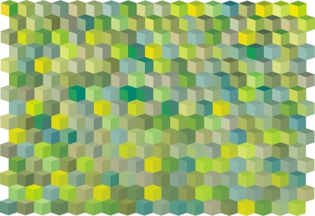abstract cubical multiple green yellow pattern backdrop Stock Vector - 14744634