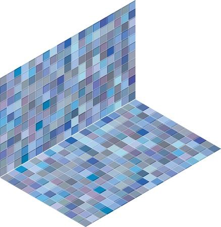 isometric tile pattern mixed blue purple backdrop Stock Vector - 14744641