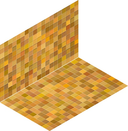 orange yellow tile isometric mosaic backdrop Stock Vector - 14744639