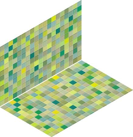 mixed green tiled wall floor pavement Stock Vector - 14744643