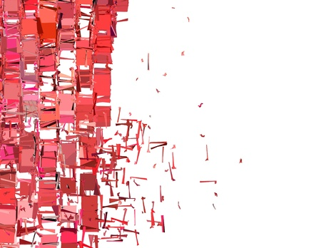 fragmentation: abstract fragmented plane pattern in pink red