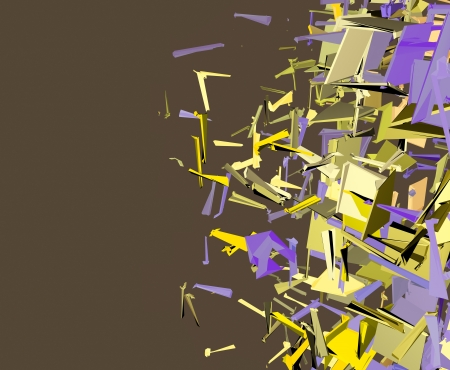 abstract fragmented cube pattern purple yellow backdrop  photo