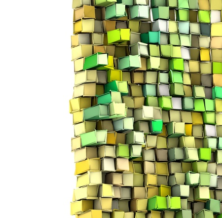 fragmentation: abstract 3d shape backdrop in green yellow Stock Photo