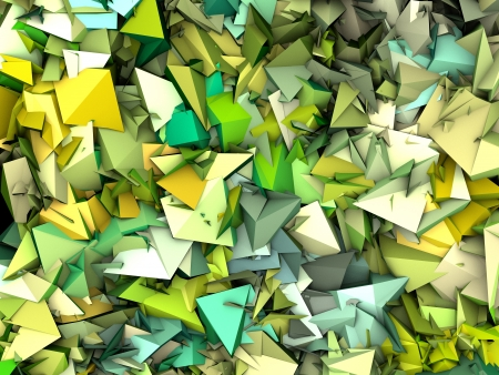 fragmentation: 3d abstract fragmented pattern green yellow backdrop Stock Photo