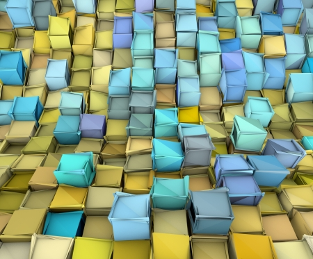 fragmented: abstract 3d shape backdrop in yellow and blue  Stock Photo