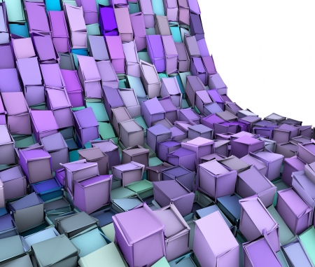 fragmented: abstract 3d wave shape backdrop in blue purple