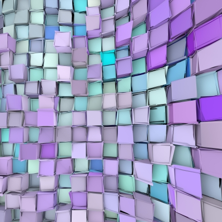 fragmented: abstract 3d wave shape backdrop in blue purple Stock Photo