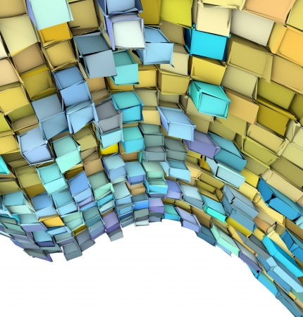 fragmented: abstract 3d wave shape backdrop in yellow and blue