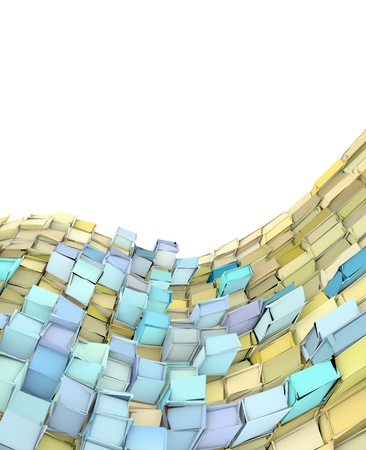 abstract 3d wave shape backdrop in yellow and blue Stock Photo - 14891624