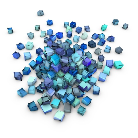 fragmentation: abstract 3d blue cubic shape on white