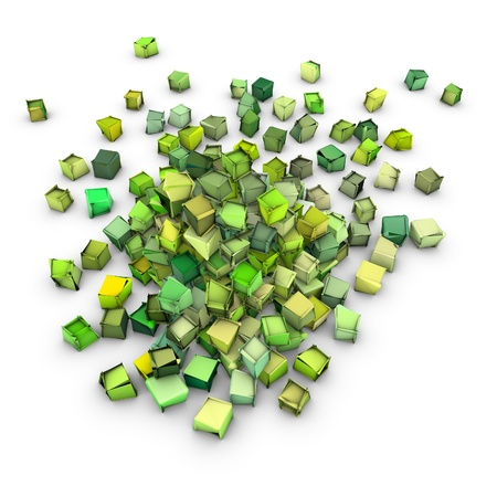 fragmentation: abstract 3d shape in green yellow on white