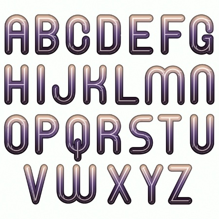 3d purple lavender glossy shiny bubble fonts photo