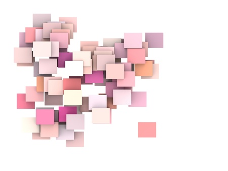 colorized: abstract composition with pink plane on white