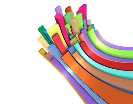 3d curved rectangular shapes in rainbow color on white Stock Photo - 14993447