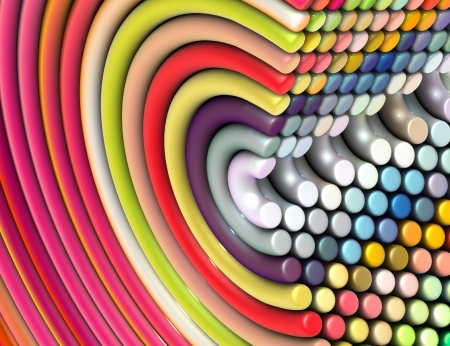 plastic art: 3d curved tube shapes in rainbow color