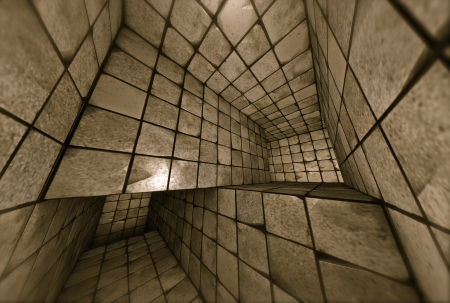 3d futuristic tiled mosaic labyrinth interior Stock Photo