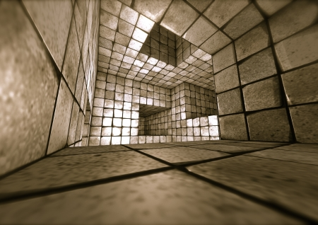 3d futuristic tiled mosaic labyrinth interior photo
