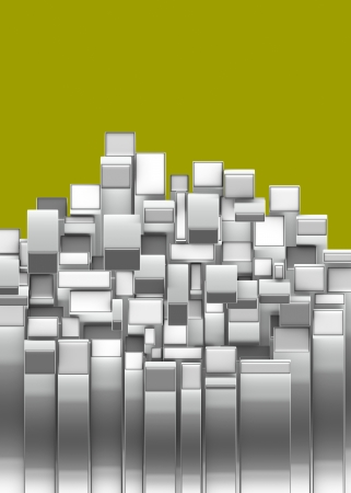 argentum: 3d curved rectangular silver chrome shapes on yellow  Stock Photo