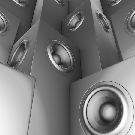 3d render of silver chrome sound-system deejay dj set  Stock Photo