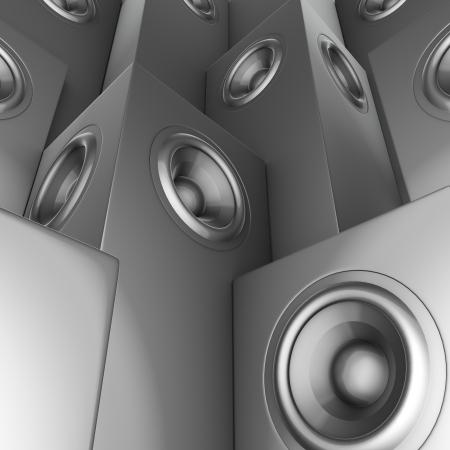 soundsystem:  3d render of silver chrome sound-system deejay dj set  Stock Photo