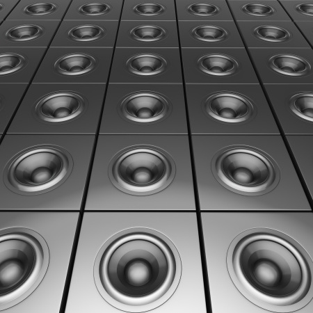 3d render of silver chrome sound-system deejay dj set photo