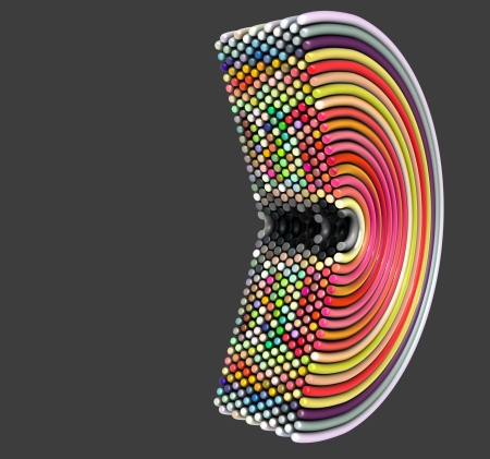colorized: 3d curved tube shapes in multiple color on gray Stock Photo