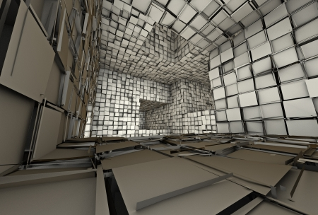 3d futuristic fragmented tiled mosaic labyrinth interior  Banco de Imagens